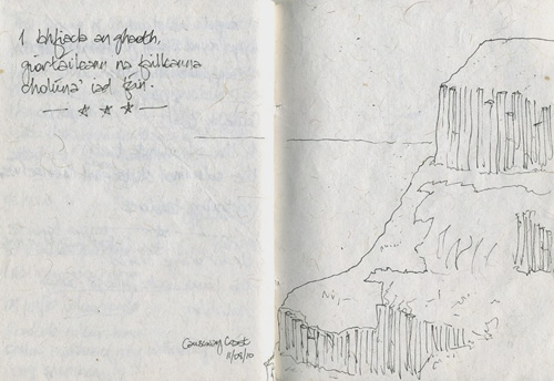 Page from ireland journal, Paul Pól ó Colmáin, Giant's Causeway, Co.Antrim, drawing and haiku poem, dán as Gaeilge, Clochán an Aiffir