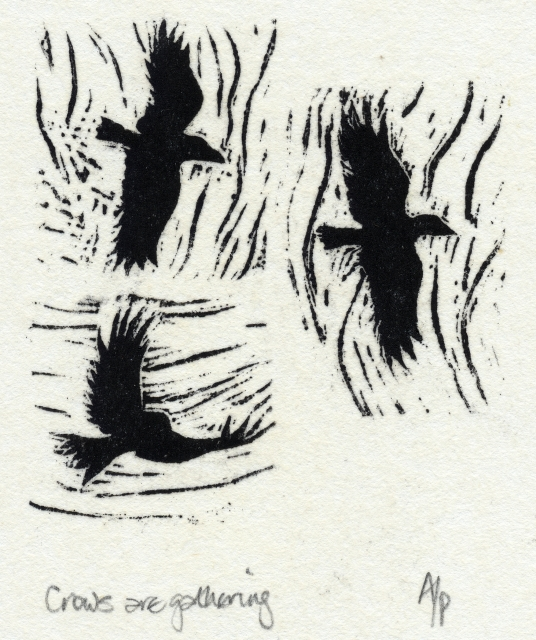 wood engraving for poem by Paul Pól Ó Colmáin, Irish language poet