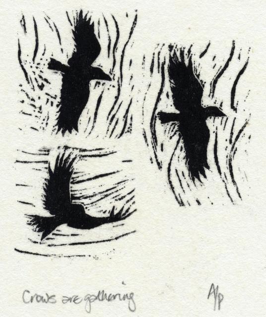 wood engraving for poem by Paul Pól Ó Colmáin, Irish language poet